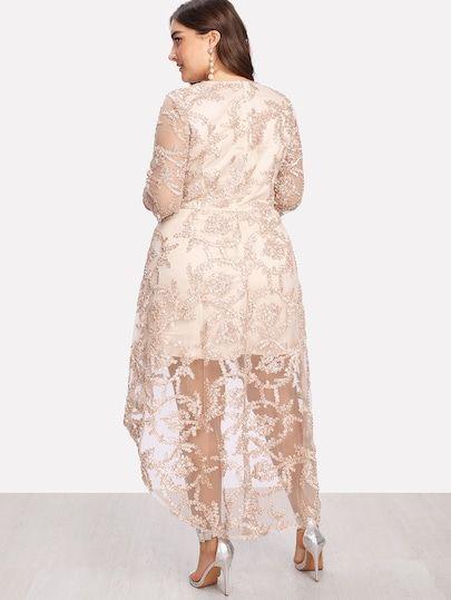 Kleid mit Netzstoff Überlappung und abfallendem Saum ...