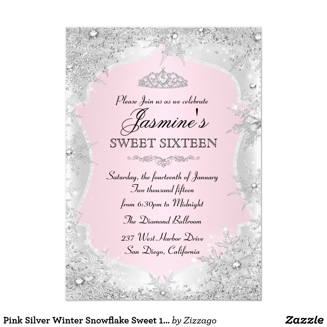 pink silver winter snowflake sweet 16 invitation happy birthday