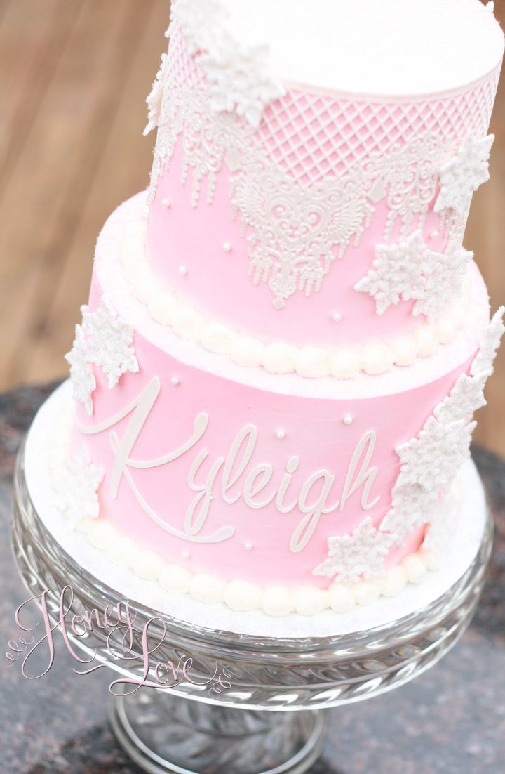 Pretty Pink Lace And Delicate Gumpaste Snowflakes Accent This Cute