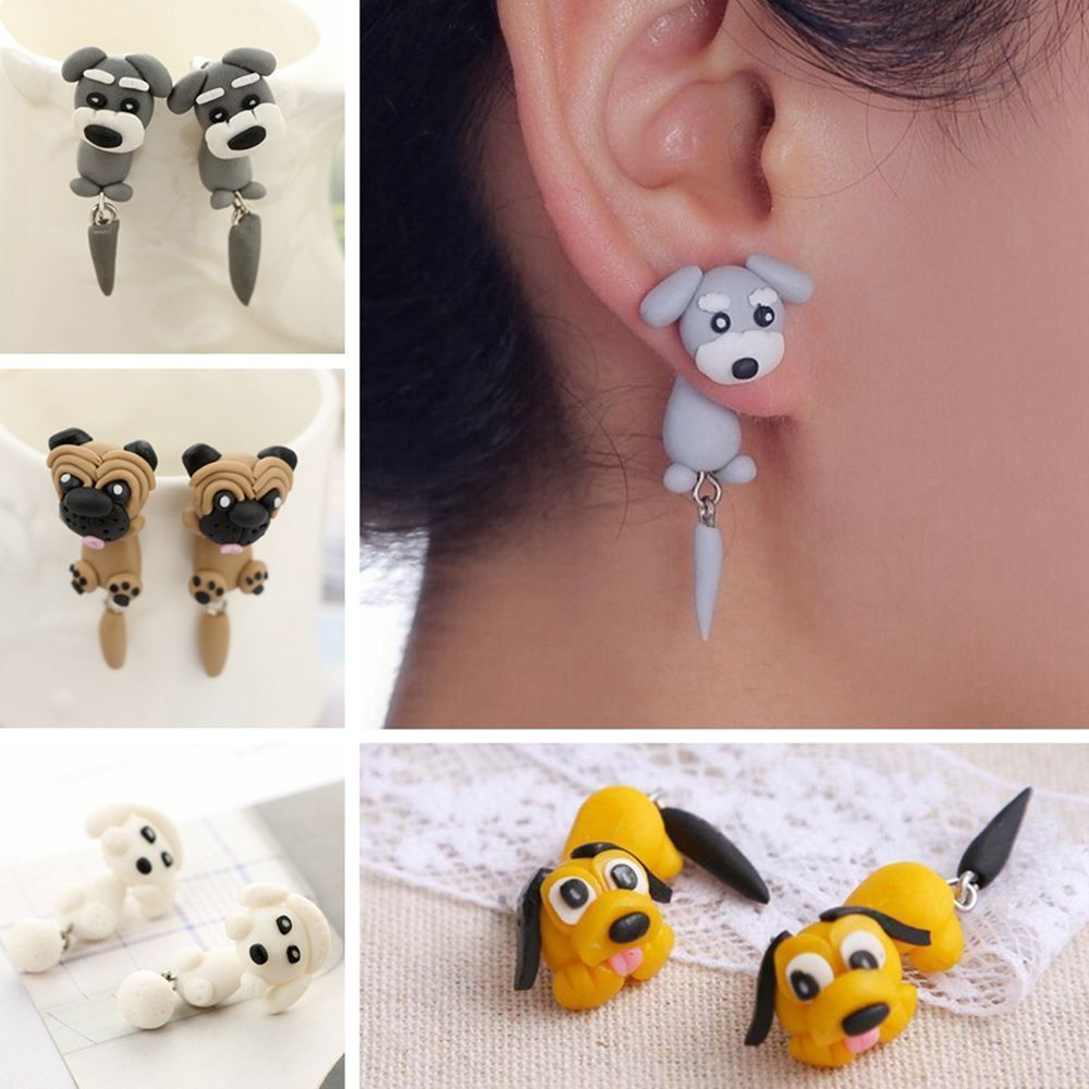 One Pair of  Acrylic Multicoloured Pooddle Dog Lover Drop Earrings Gift Idea