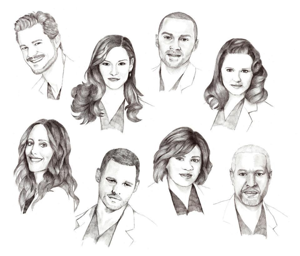 Mark SLoan, Lexie Grey, Jackson Avery, April Kepner, Teddy Altman ...