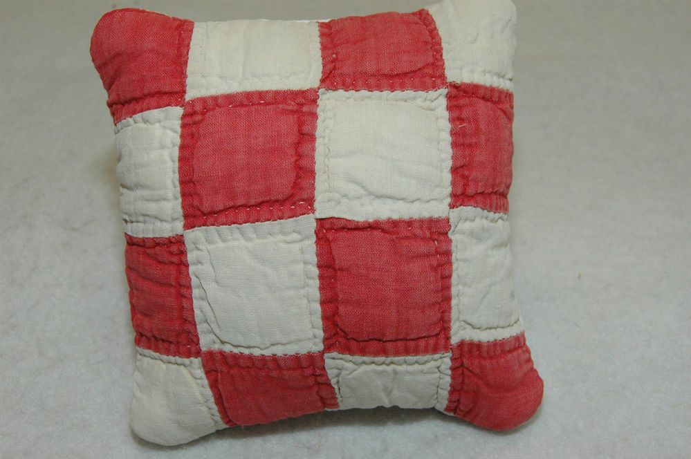 Antique Quilt Pillow Red Patchwork Country Chic Coverlet Cupboard Basket 6 x 6