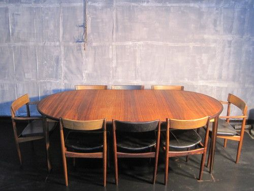 Vintage 1960s Danish Rosewood Dining Table And Eight Chairs By Rosengren Hansen