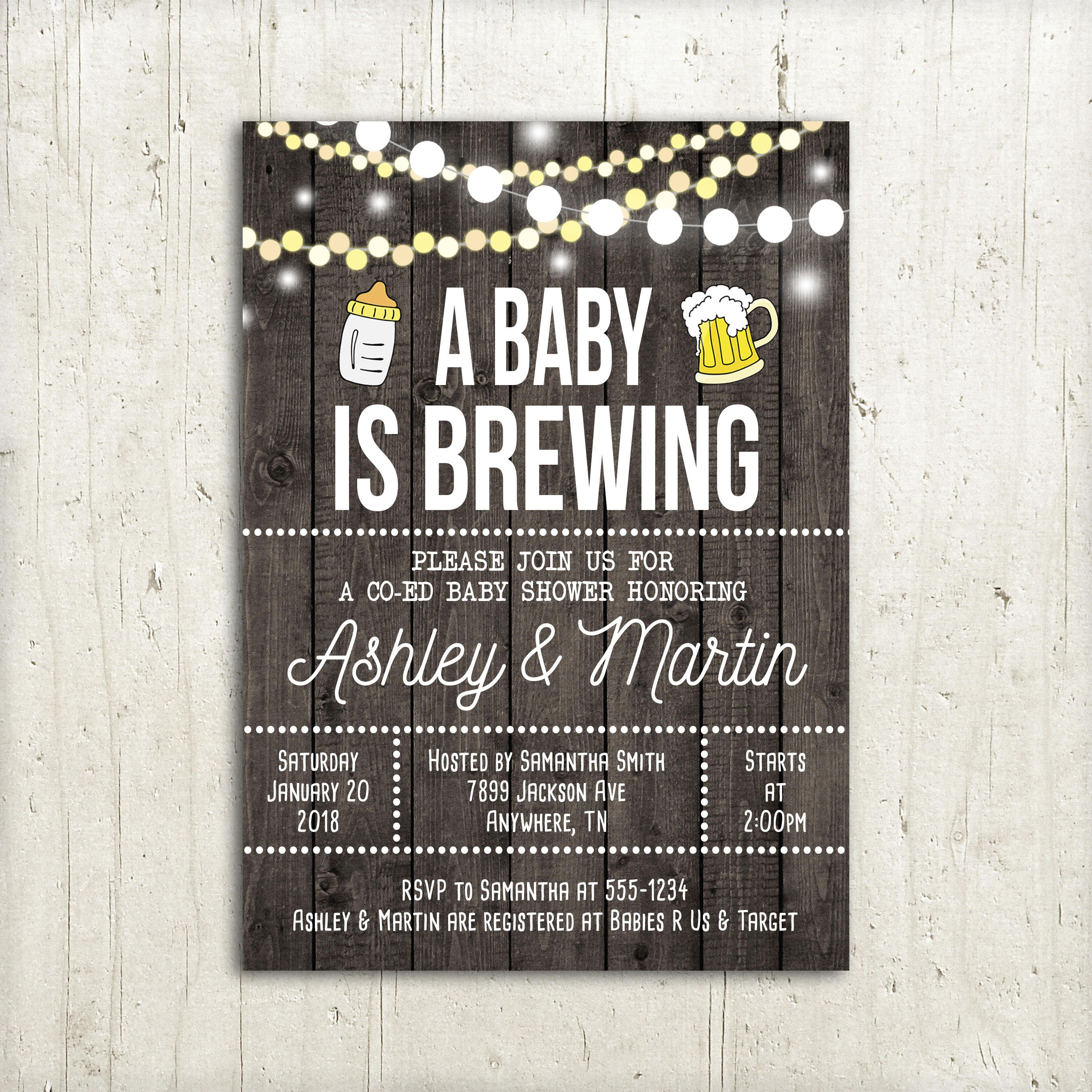 A Baby Is Brewing Baby Shower Invitation Co Ed Baby Shower