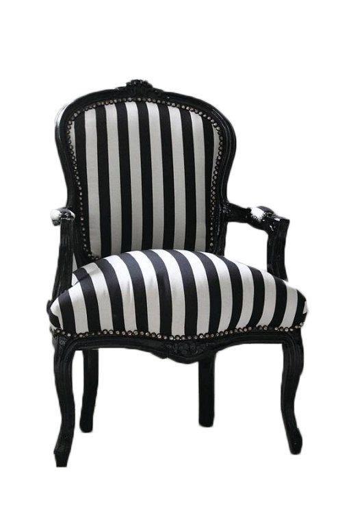 Best Vintage French Chair Black And White Stripe 400 x 300