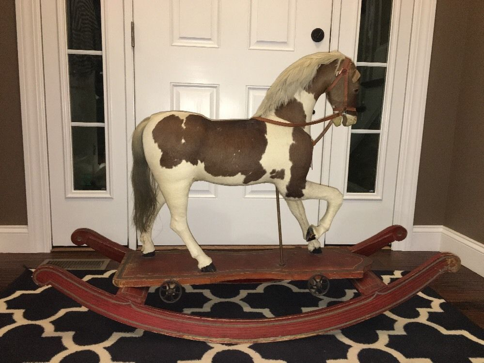1880's Antique Hide Covered Pull Toy Rocking Horse Hobby Horse Original Rare