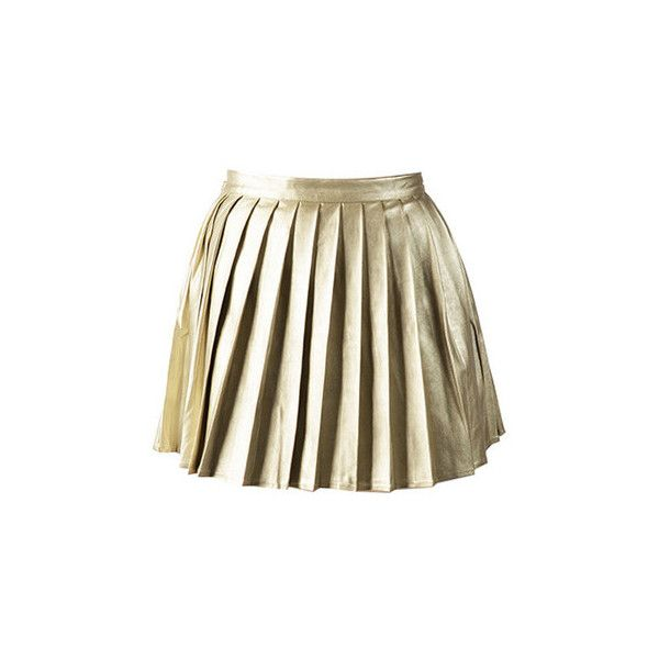 bc6c331f9 MinkPink Romy & Michelle Pleated Skirt ($25) ❤ liked on Polyvore featuring  skirts, mini skirts, bottoms, gold, metallic, pleats, short skirts, high  waisted ...