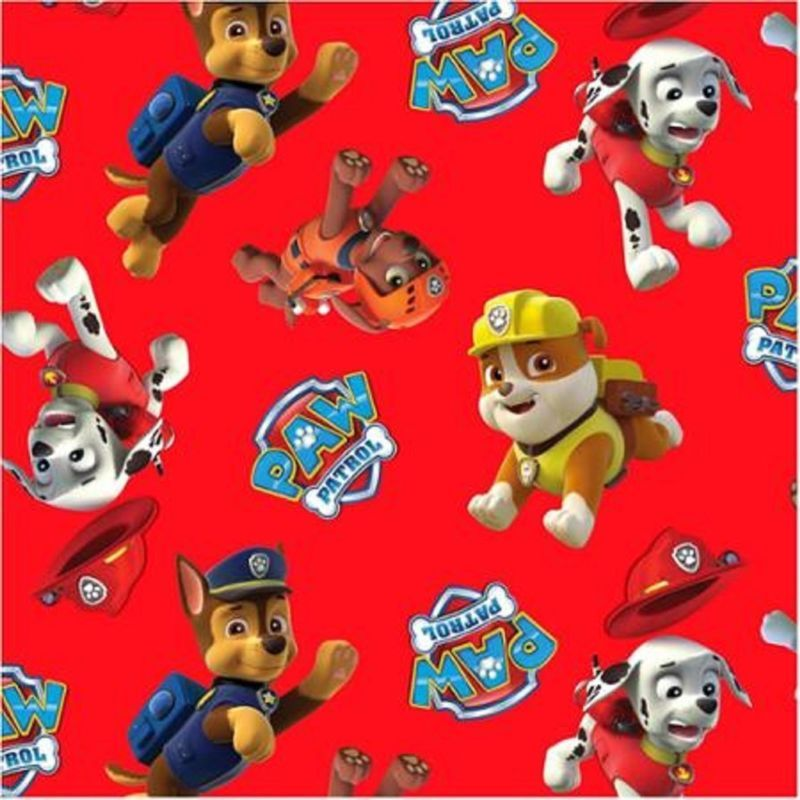 Paw Patrol Red Background W Characters Rubble Chase Cotton Fabric By The Yard Boy And Girl Cartoon Arts Crafts Sewing Paw Patrol