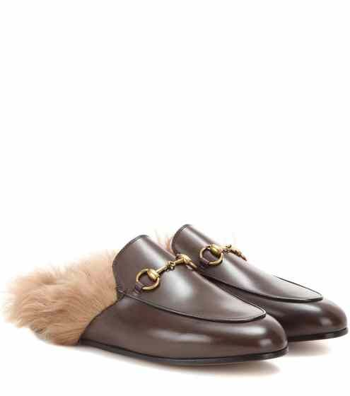 Princetown fur-lined leather slippers   Gucci