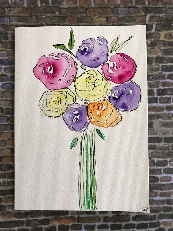 Original Watercolor Flower Card Hand Painted Flower Card