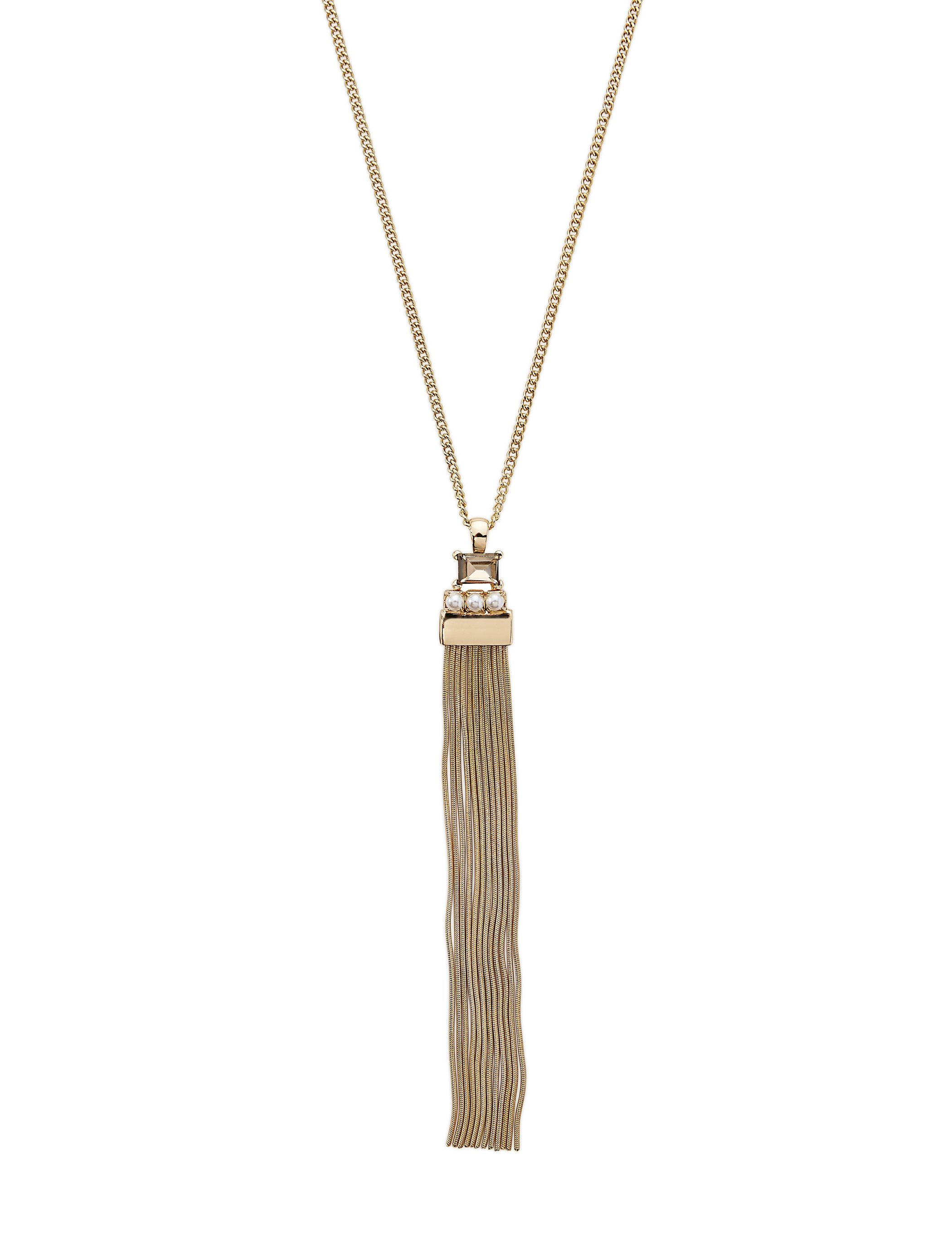 Pearl Detail Tassel Necklace - A minimalistic design with fluid movement, this modern necklace is a masterpiece around your neck.