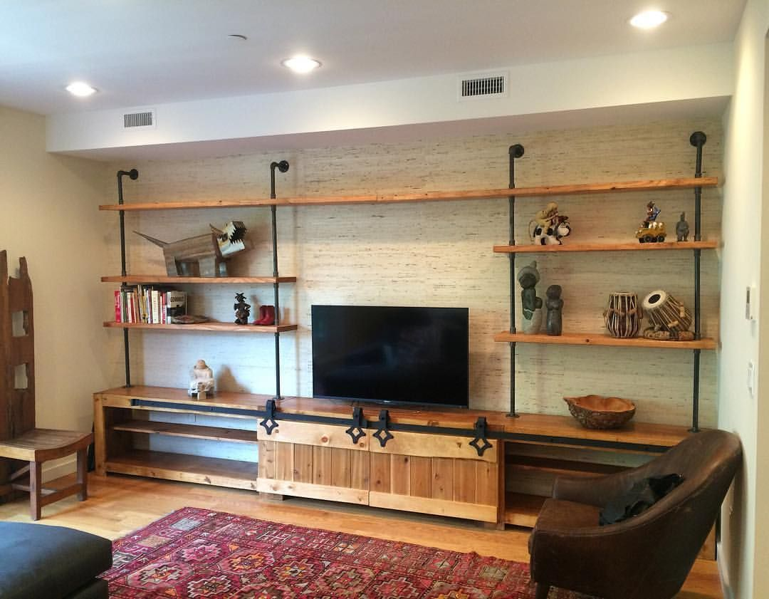 Custom Made Industrial Media Console W Barn Doors
