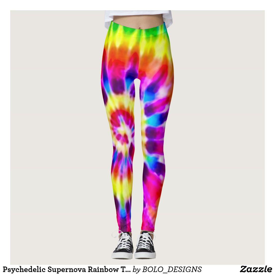 Psychedelic Supernova Rainbow Tie Dye Leggings Zazzle