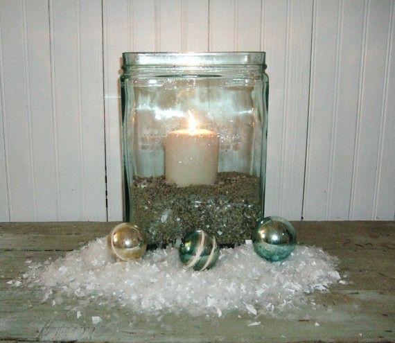 Vintage Large Aqua Glass Battery Jar by thepetitemarket on