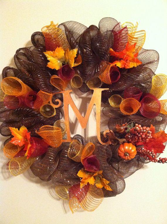 Fall monogram mesh wreath by Wreaths4u2byPaula on Etsy, $60.00