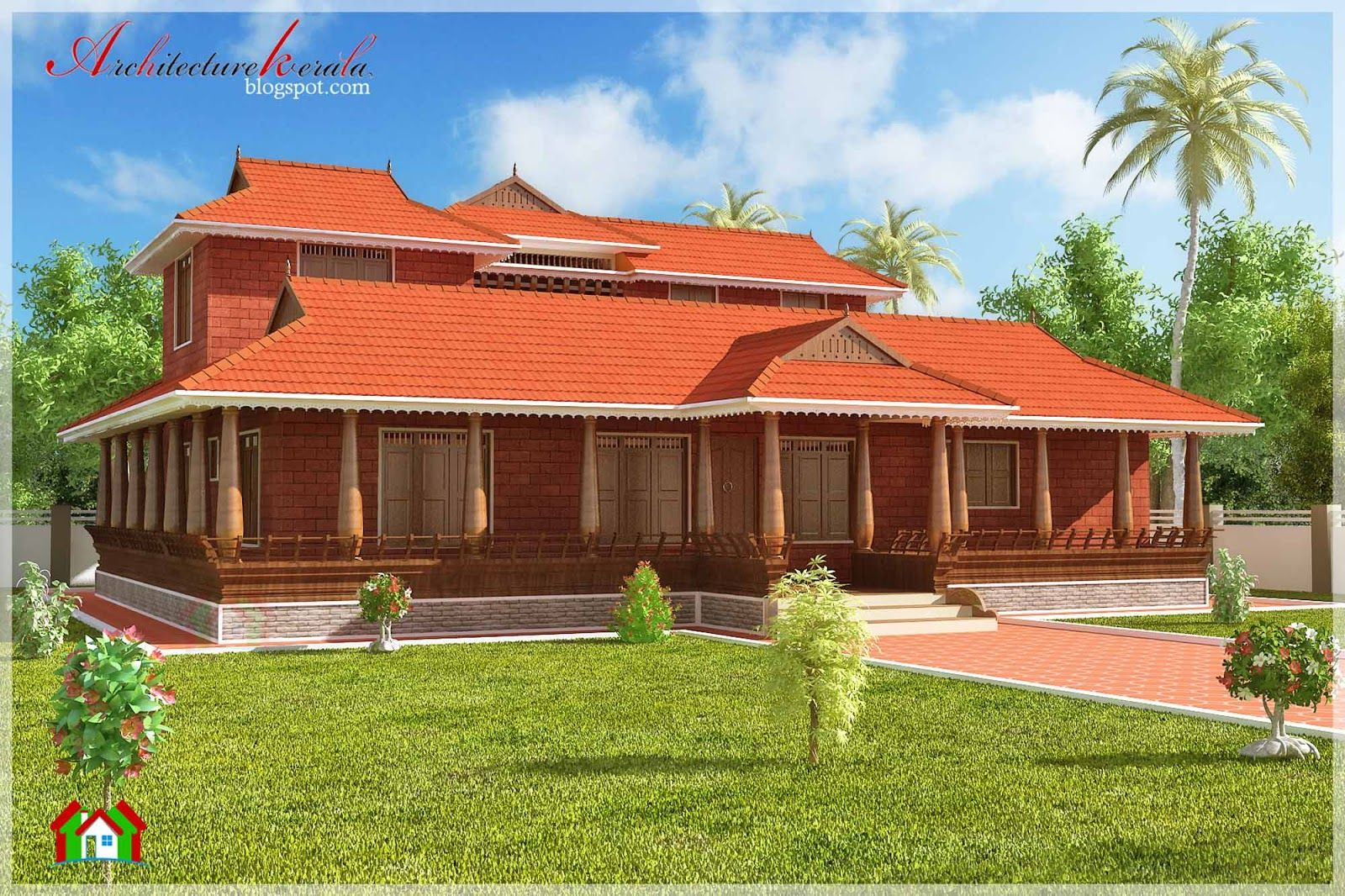 Trans Traditional And Beautiful Kerala House Elevation At