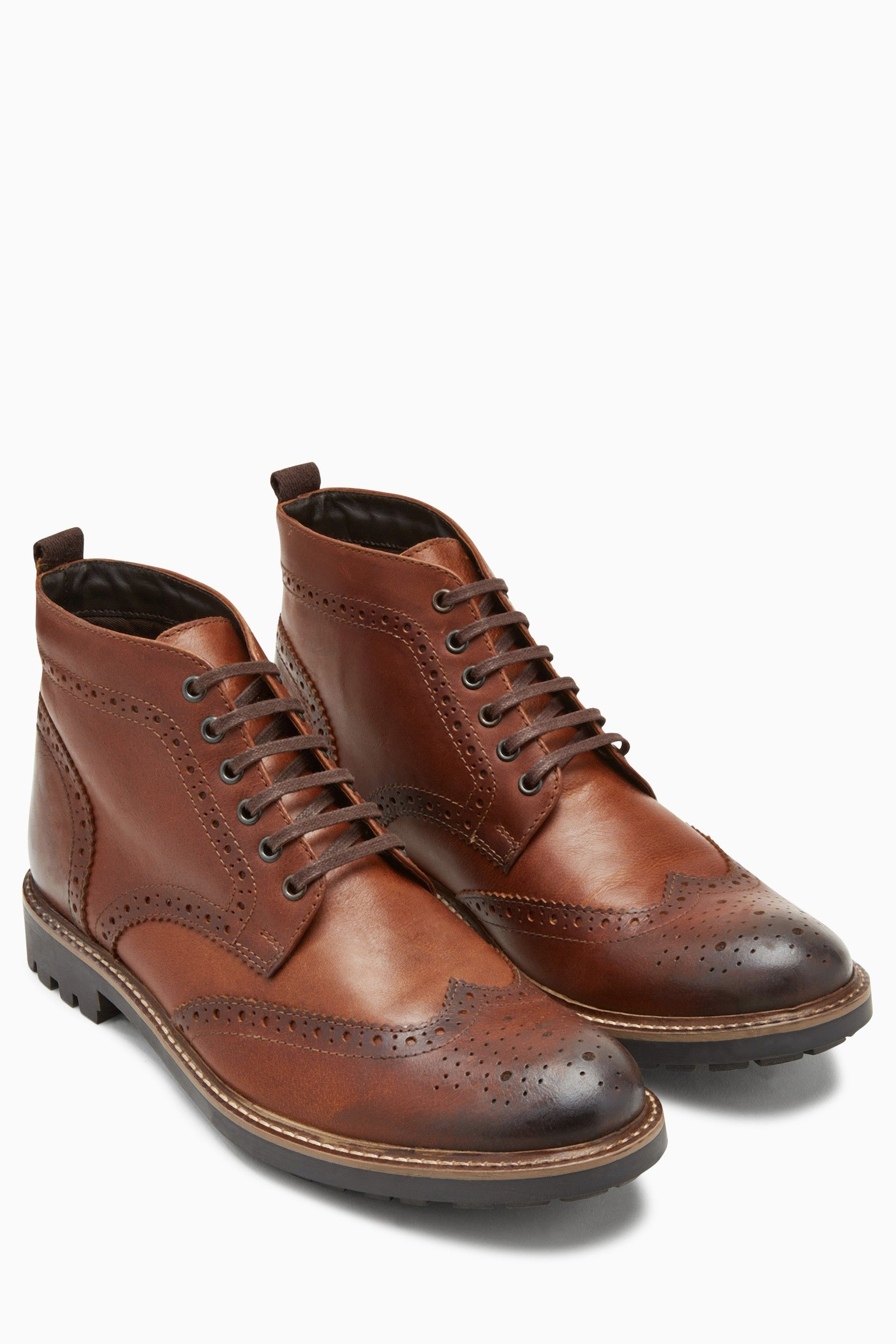 Mens Next Tan Brogue Cleat Boot - Brown