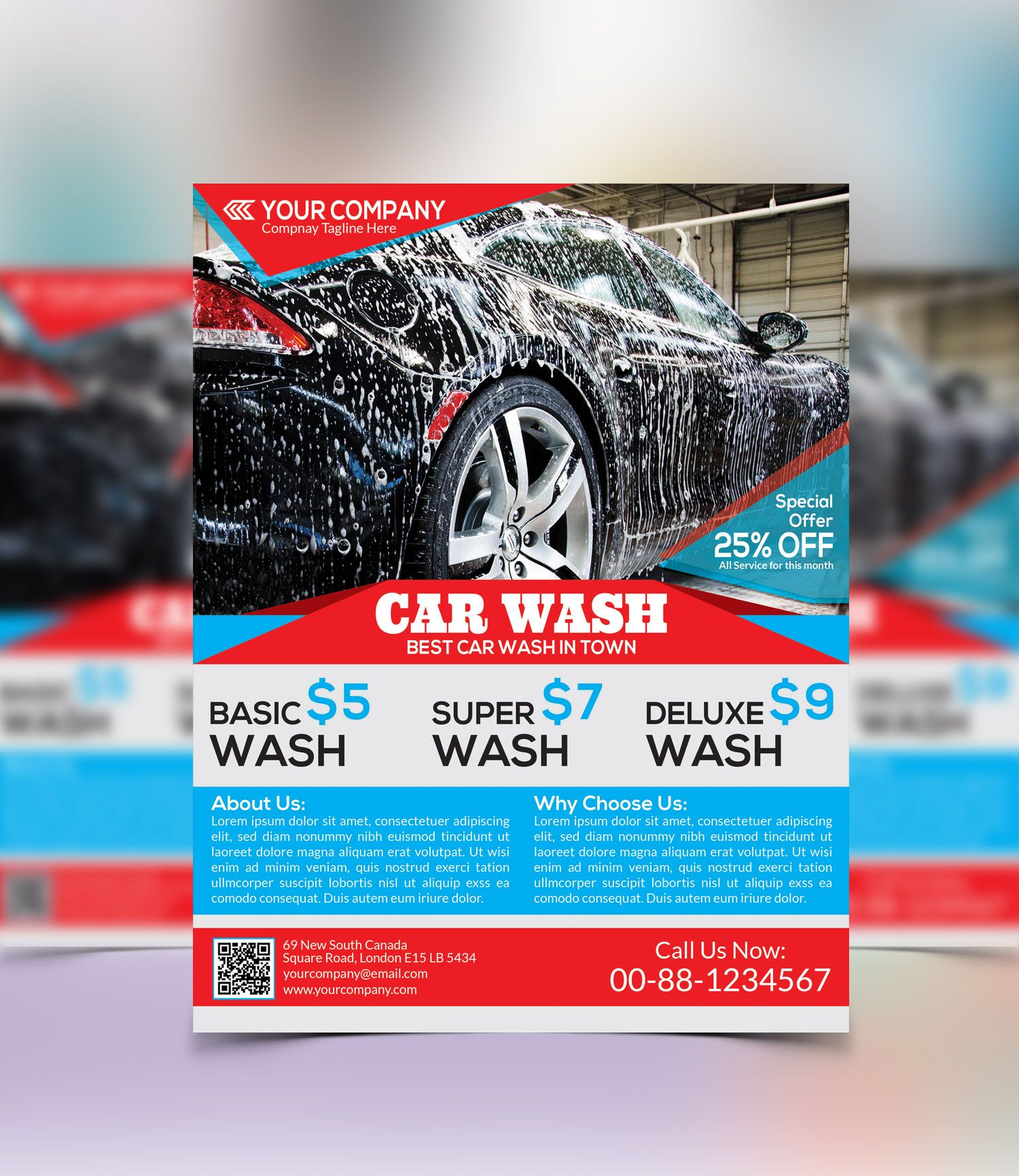Car Wash, Ad Layout And Print Templates