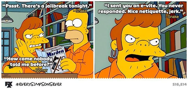 Snake And Homer Simpson Escapes Prison Pic Homer Simpson Simpsons Rule Simpson