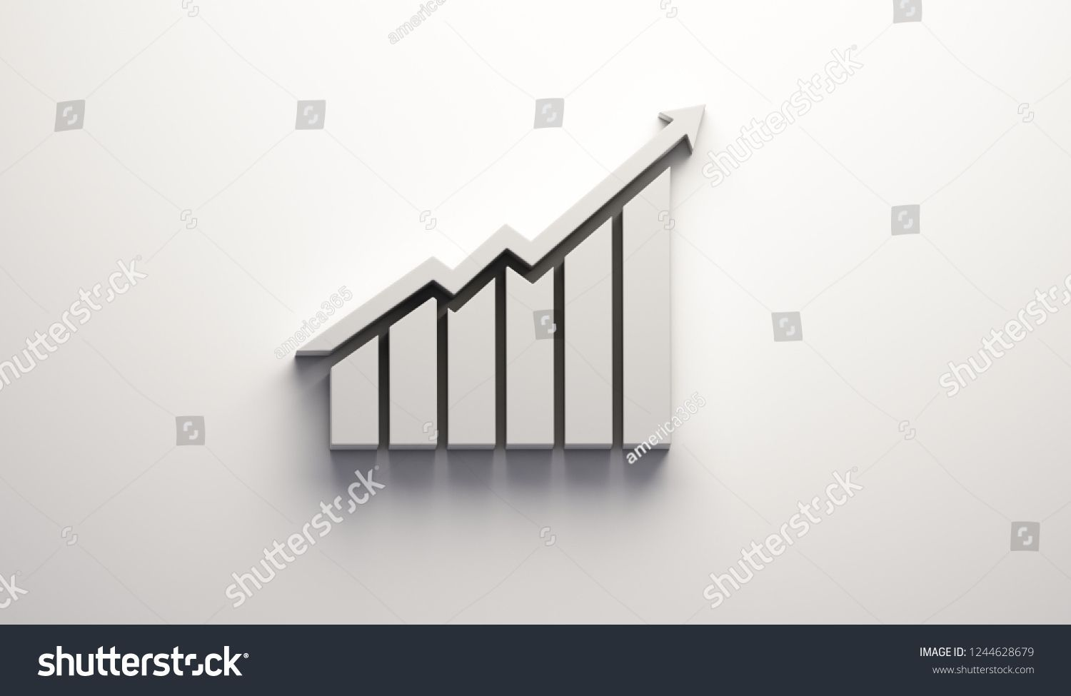 Finance Growth Bar And Arrow 3d Render Illustration Finance Graph Business Chart Growth Financial Success Dia Finance Stock Illustration Illustration