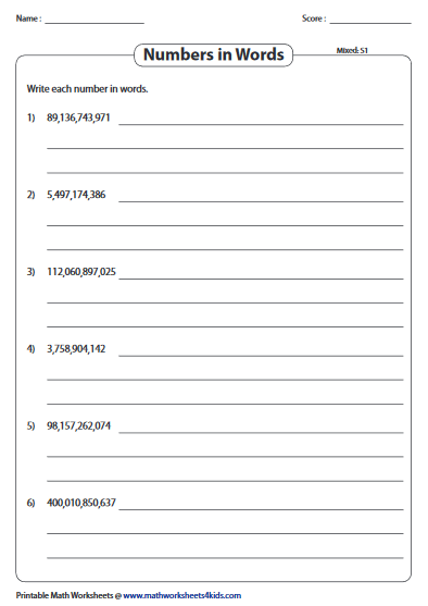 Write Large Numbers In Word Form Number Names Worksheets