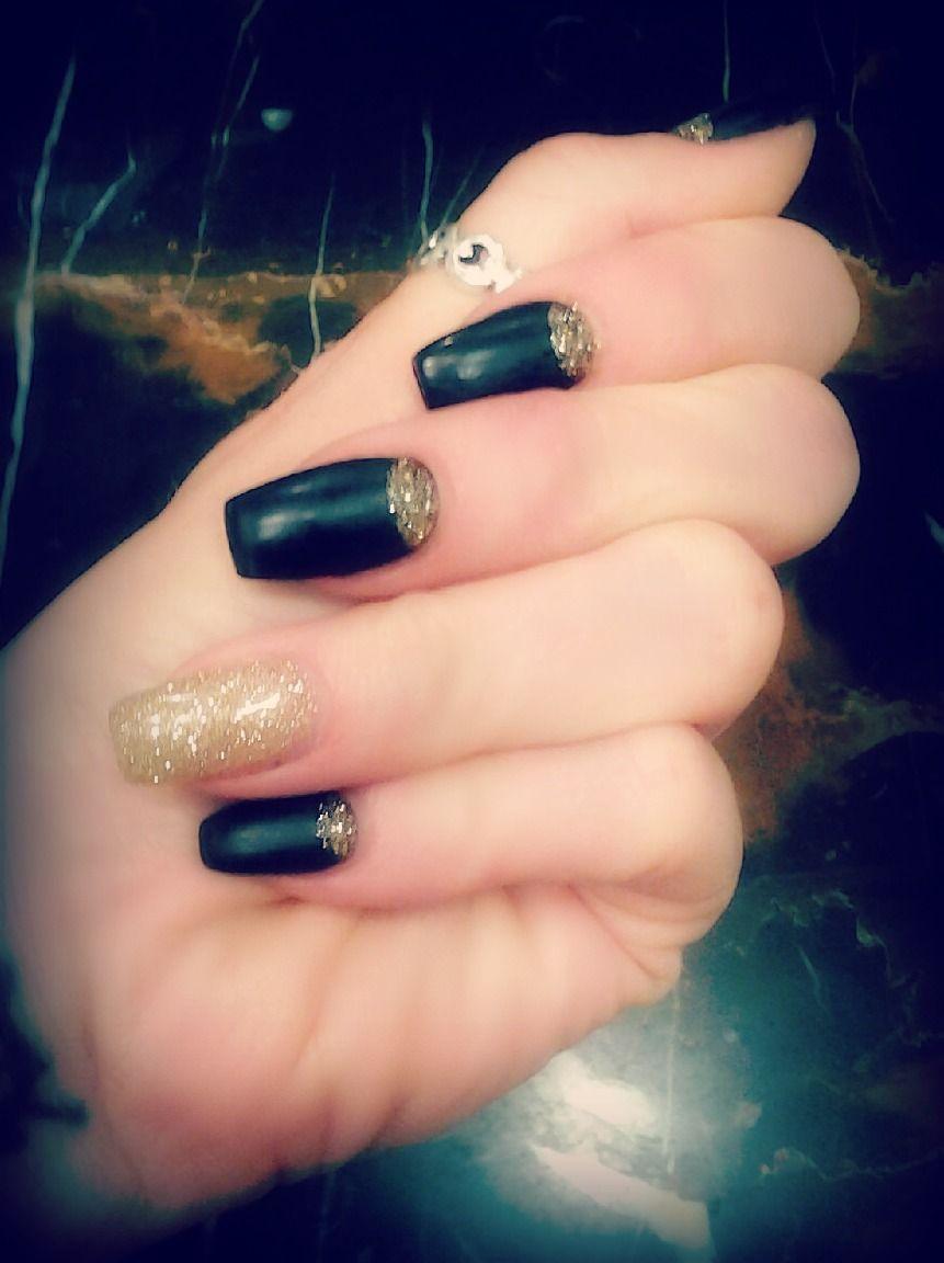 Matte Black & Gold New Years Nails !!! | NAILS | Pinterest | Matte ...