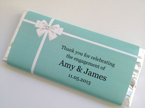 tiffany design personalised chocolate bar wedding engagment bonbonniere favour ebay. Black Bedroom Furniture Sets. Home Design Ideas