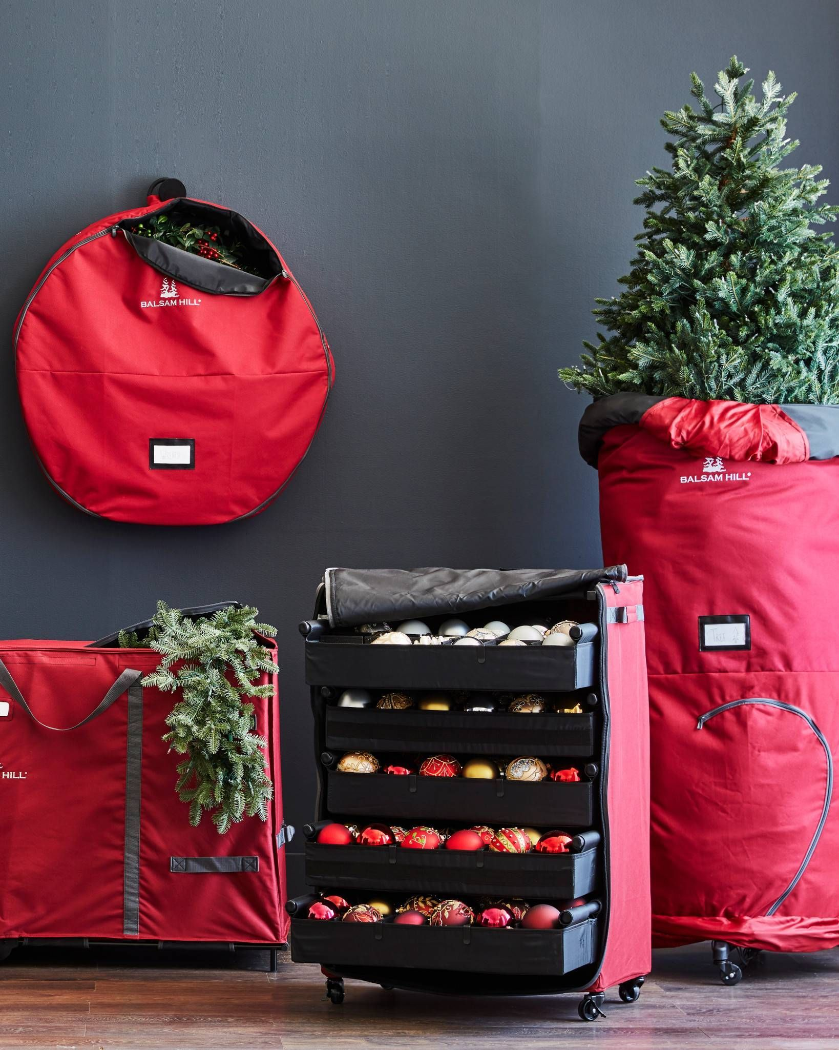 Christmas In July Deluxe Rolling Ornament Chest Balsam Hill Balsam Hill Christmas Ornament Storage Fun Christmas Decorations Rolling christmas tree storage bag