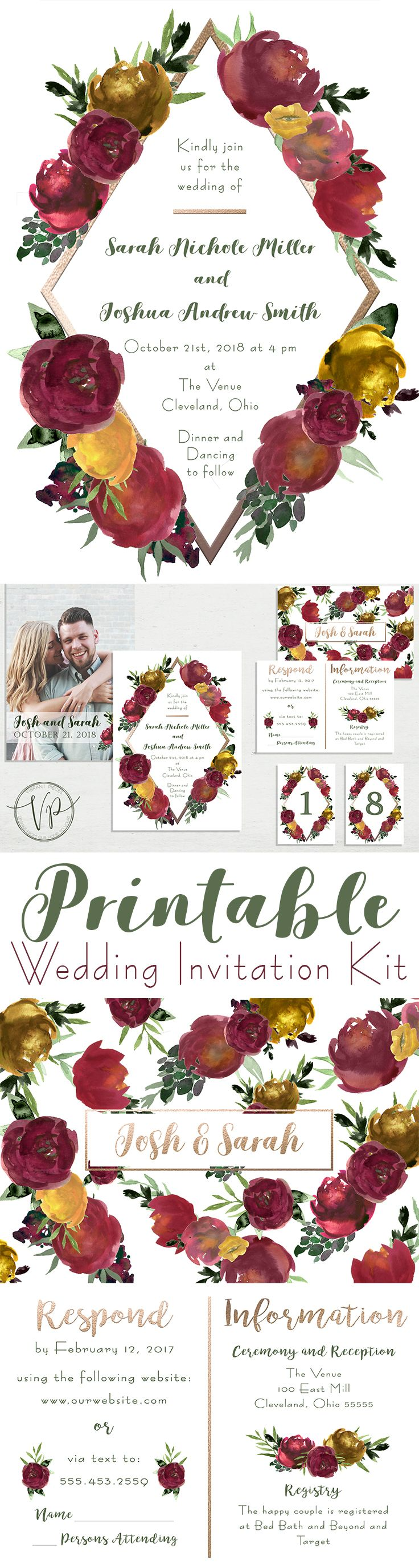 Wedding decorations rose gold october 2018 Fall Watercolor Floral u Rose Gold Wedding Invite Kit wRSVP Cards