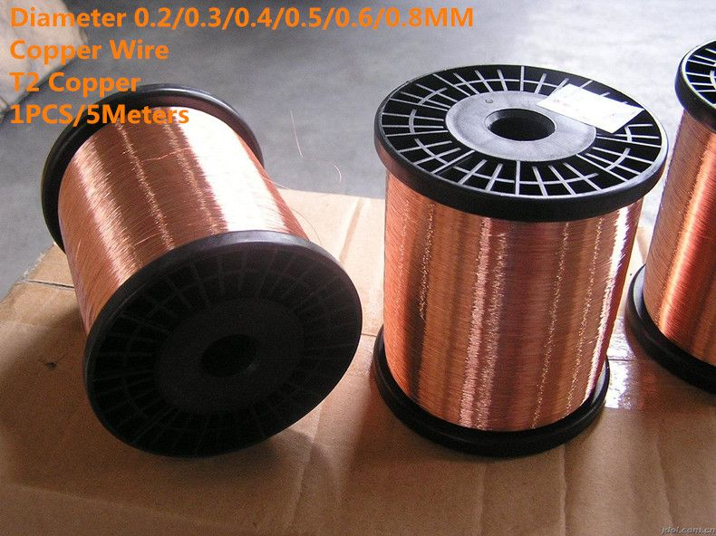 1pcs 5meters Cw001 Diameter 0 2 0 3 0 4 0 5 0 6 0 8mm Copper Line T2 Copper Copper Wire Free Shipping Sell At A Loss Copper Wire Copper Wire