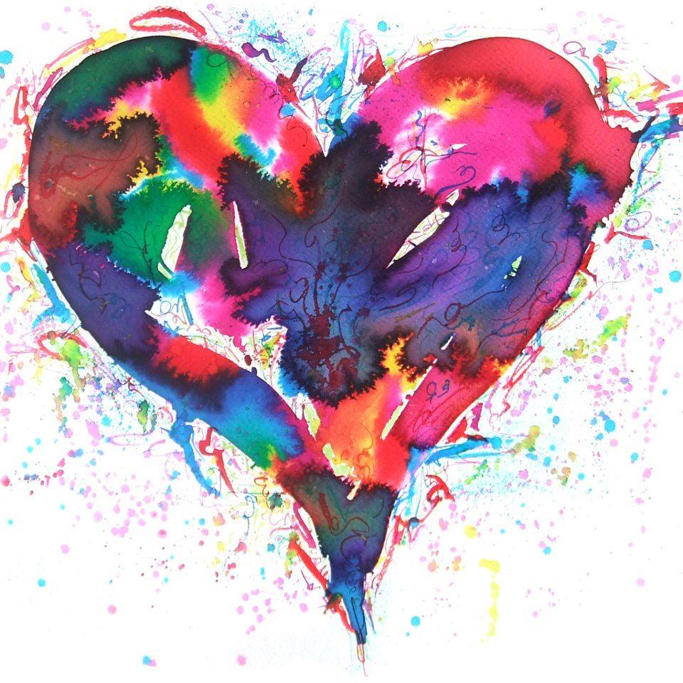 Watercolor Rainbow Heart Watercolor Heart Abstract Watercolor