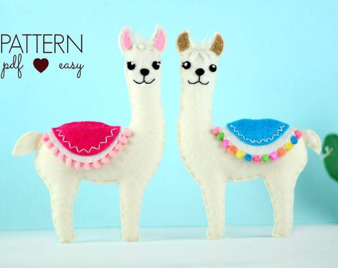 Felt Pattern, Llama Sewing Pattern, Felt Animal Pattern, Llama ...