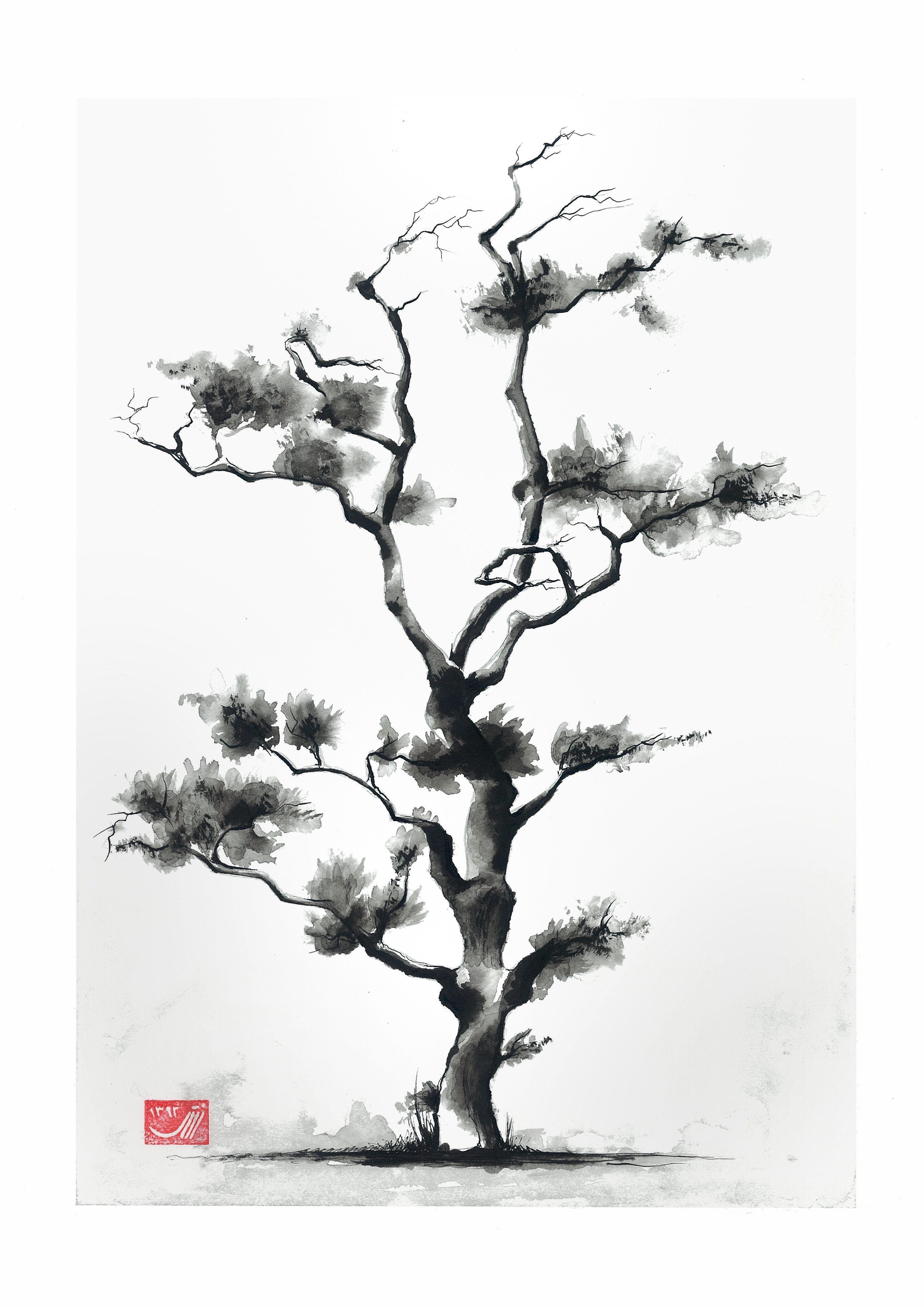 Dibujos En Tinta China Bonsai Facil Buscar Con Google Tinta China Arte Japonés Acuarela Japonés