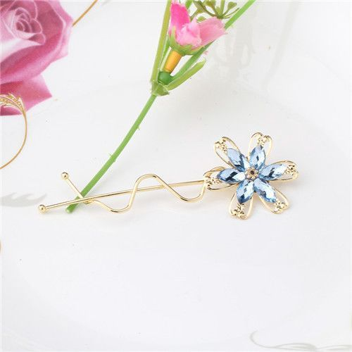 Women's Fashion Rhinestone Flower Crystal Hair Clips Wave Barrettes Wedding Bridal Jewelry Summer Side Clip Hairpins