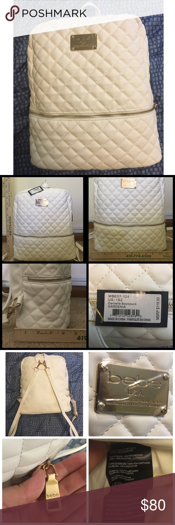 """☀️NWT BEBE """"Danielle"""" Backpack •Approx. 15"""" tall / 11"""" across / approx. 4-4.5"""" wide •Color: White & Gold •Has removable, adjustable straps and has several compartments •Shell: 100% Polyurethane / Lining: 100% Polyester •NWT with no defects •No trades bebe Bags Backpacks"""