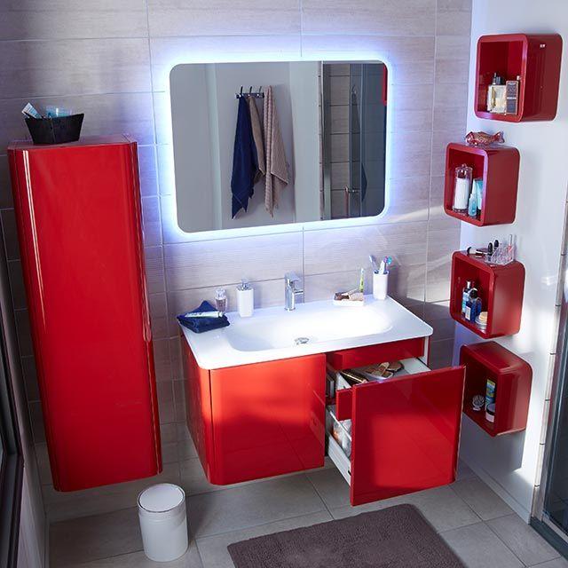 Meuble de salle de bain rouge 95 cm Ceylan - CASTORAMA Salle de