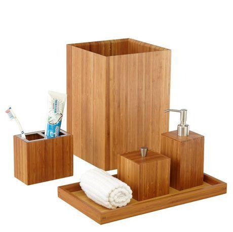 Seville Classics 5 Piece Bamboo Bath Set Bamboo Bamboo Bathroom