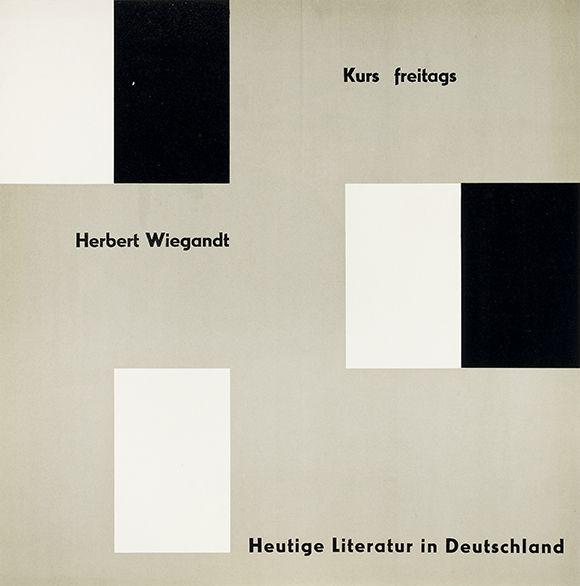 Herbert Wiegandt - Heutige Literatur in Deutschland - März 1952. Ulmer Volkshochschule. Gestaltung Otl Aicher. Via plakatkontor