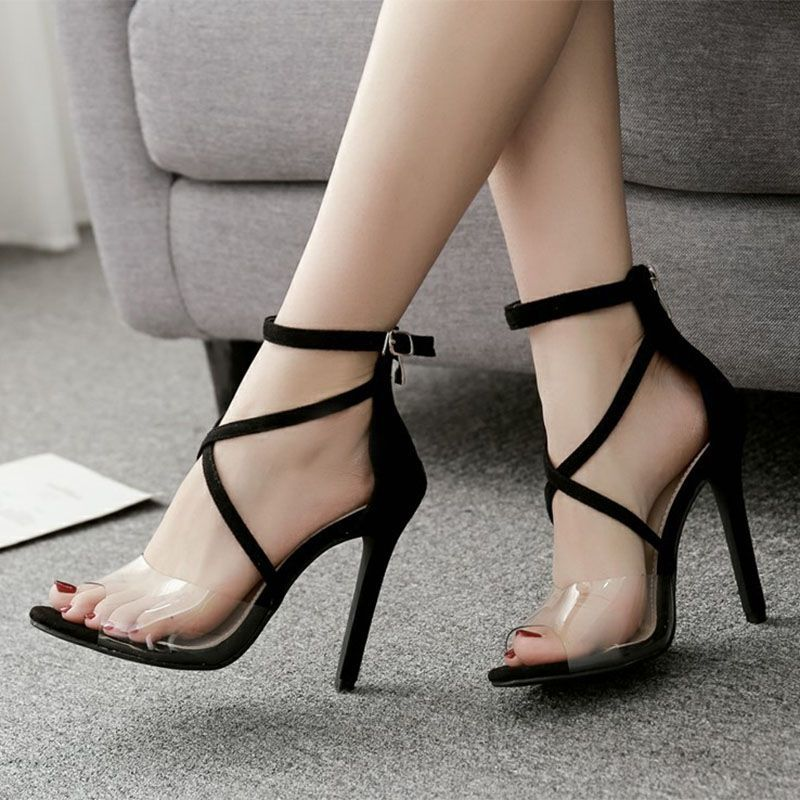 3e7b6fb1108 Patchwork Plain Open Toe Black Stiletto Heels | Elegant Sandals ...