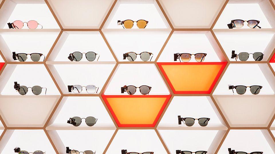 Selfridges Eyewear Destination | Nulty | Lighting Design Consultants | Eyewear  display, Window display design, Hexagon sunglasses