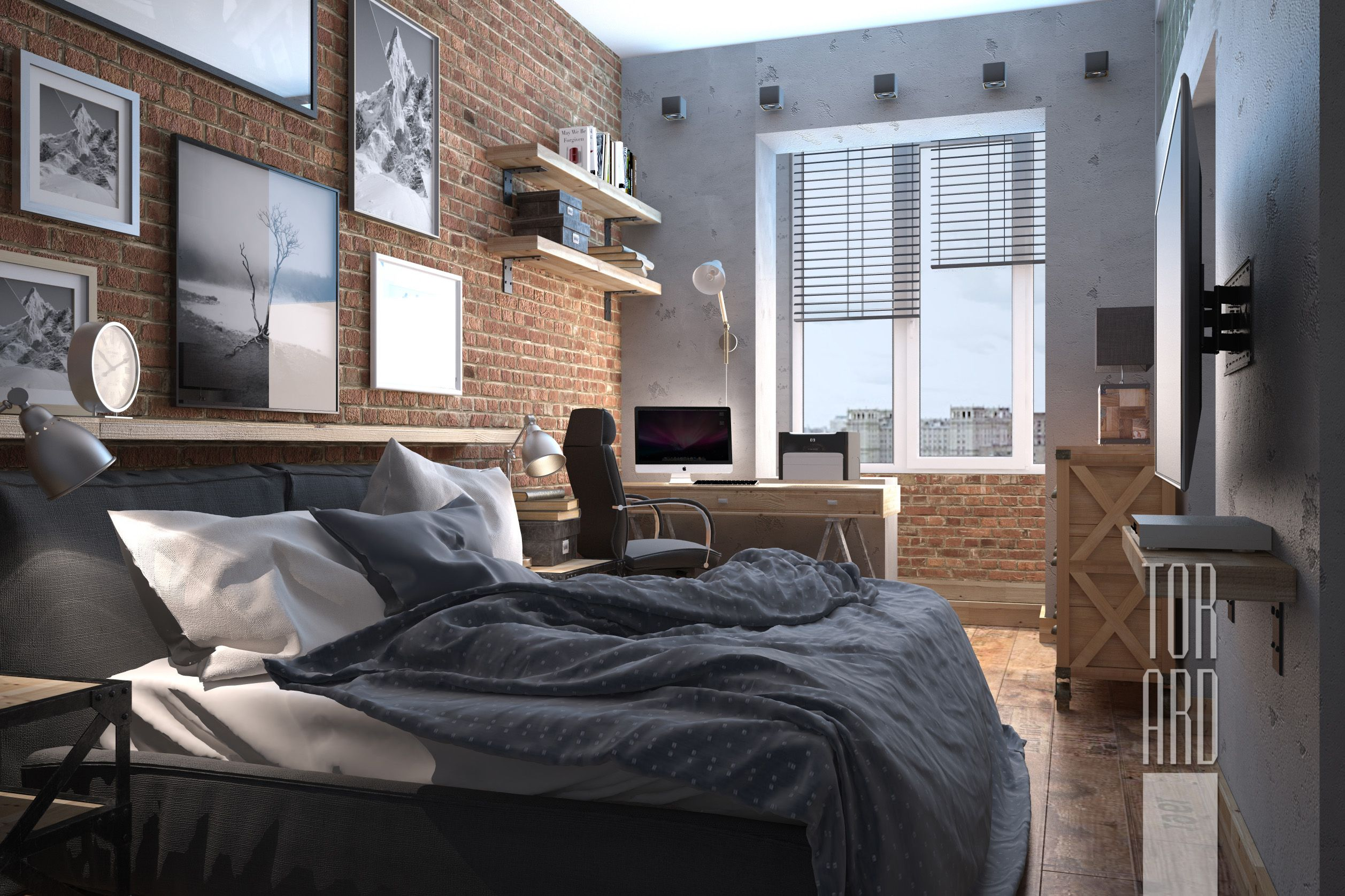 Loft apartments in Moscow • Brick wall • Bedroom design • bachelor ...