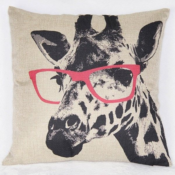 Simple Giraffe Pattern Printed Square Synthesis Of Linen Pillow Case 440 Rub Liked On Pol Giraffe Throw Pillow Throw Pillows Decorative Throw Pillow Covers
