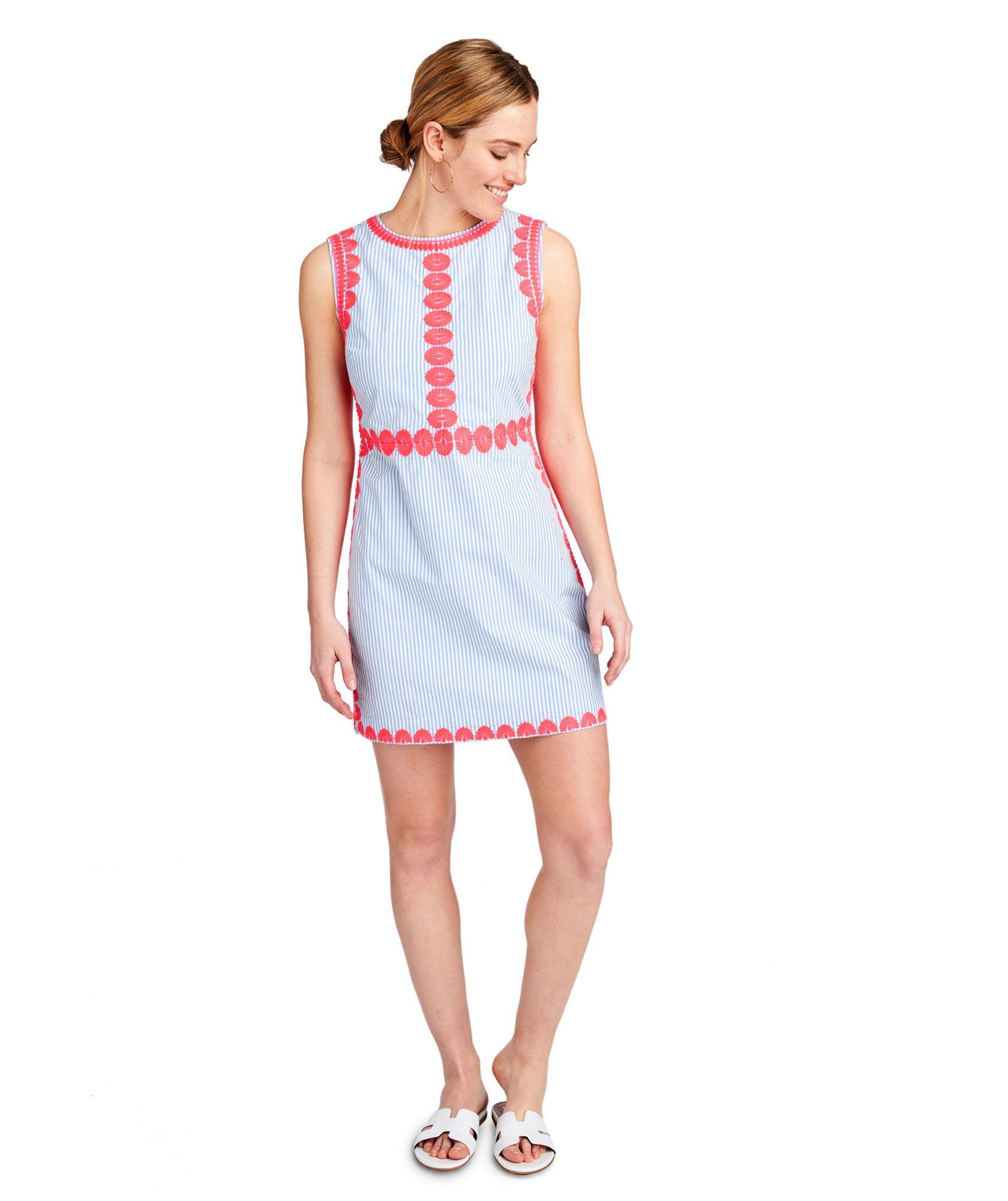 9d17a3d61f Shop Striped Pop Embroidered Shift Dress at vineyard vines ...