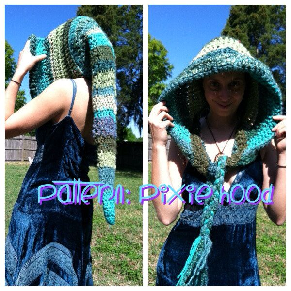 crochet long pixie hood pattern free
