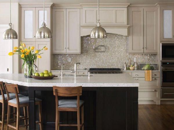 Mixed Cloud White Glimmer Glass Tile  Kitchen Backsplash Endearing Kitchen Backsplash Designs Pictures Inspiration