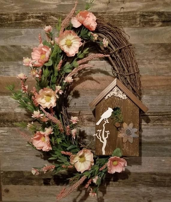 Photo of Beautiful peach flower vine wreath with bird house! Mother's Day gift, birdhouse wreath, flowers w