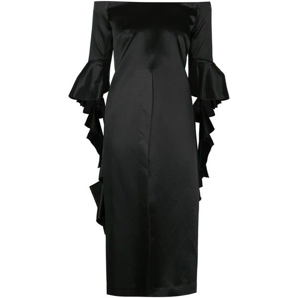 Ellery ruffled off shoulder dress (£1,885) via Polyvore featuring dresses, black, flounce dress, flouncy dress, off shoulder ruffle dress, off the shoulder dress and ruffle dress