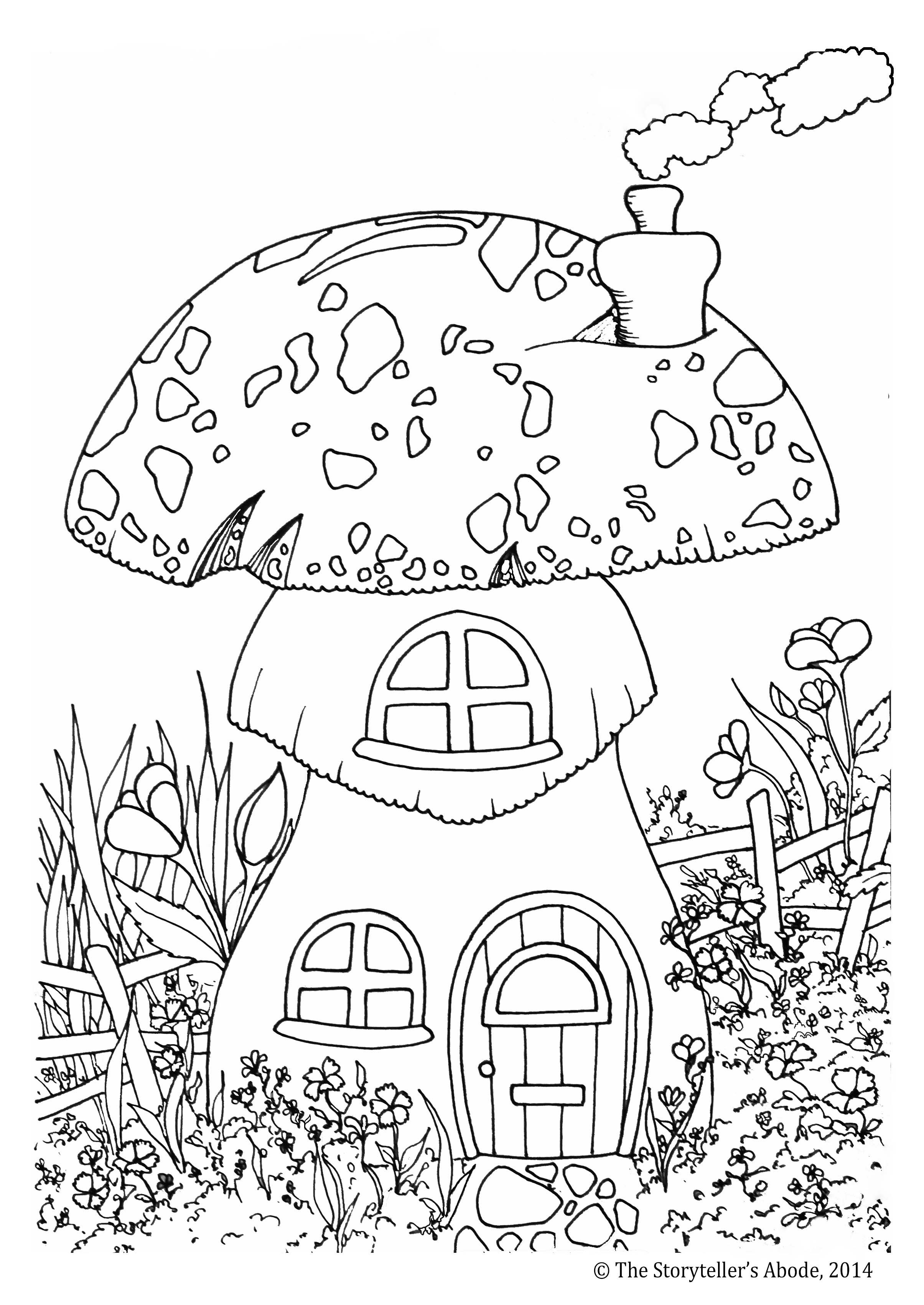 Cracked out mushroom coloring page toadstool house