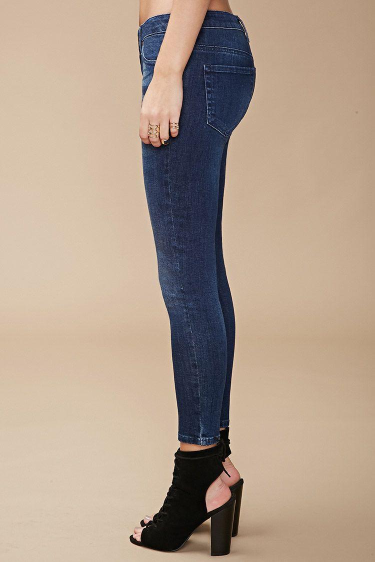 Jeans Skinny Tiro Bajo Efecto Lavado - Mujer - Lo De Abajo - 2000154592 - Forever 21 EU Español