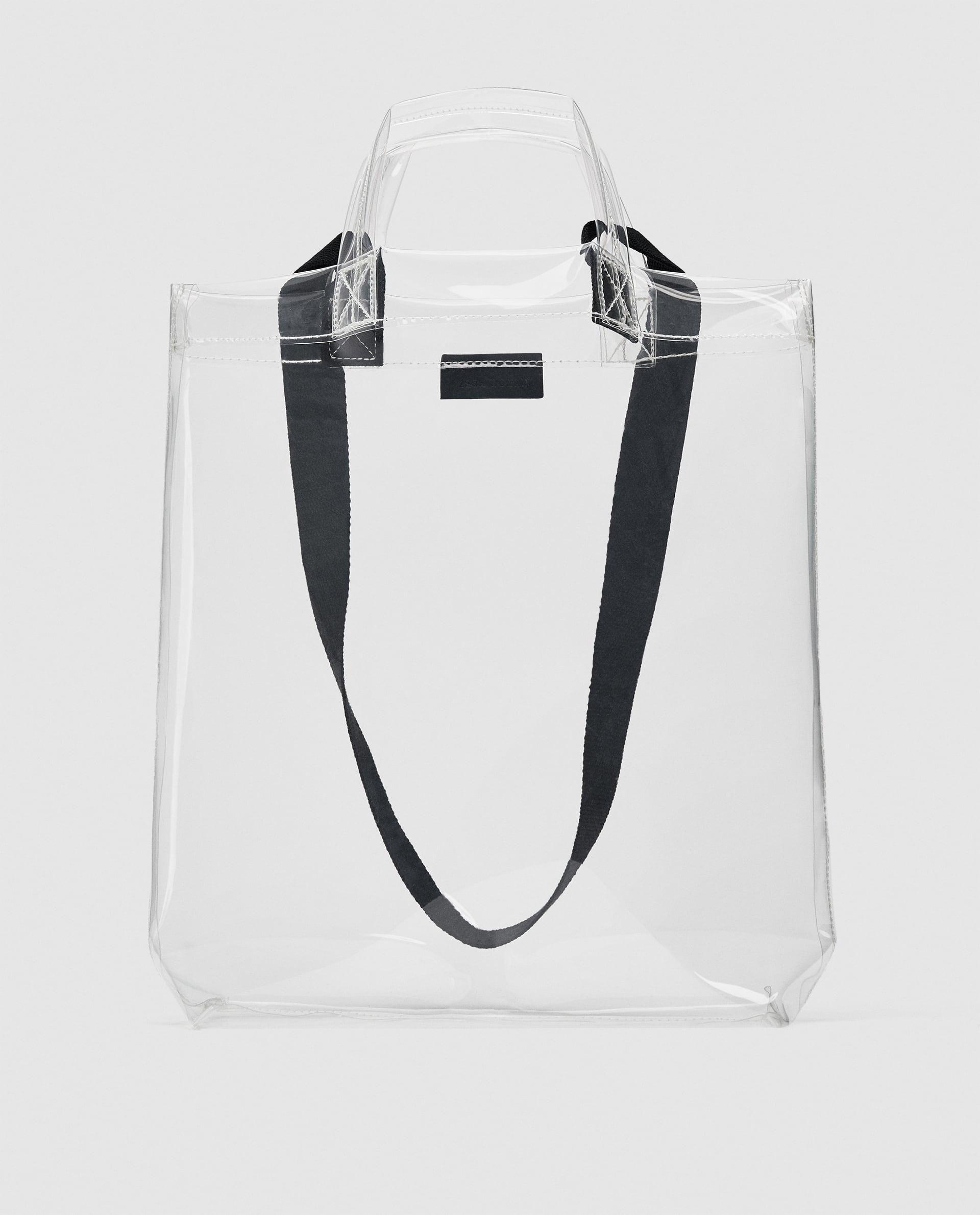 Vinyl Tote Bag 25 90 Usd Zara Transparent Tote Bag With Handles Fabric Shoulder Straps Height X Width X Depth 38 X 34 X 4 C Bags Zara Bags Tote Bag